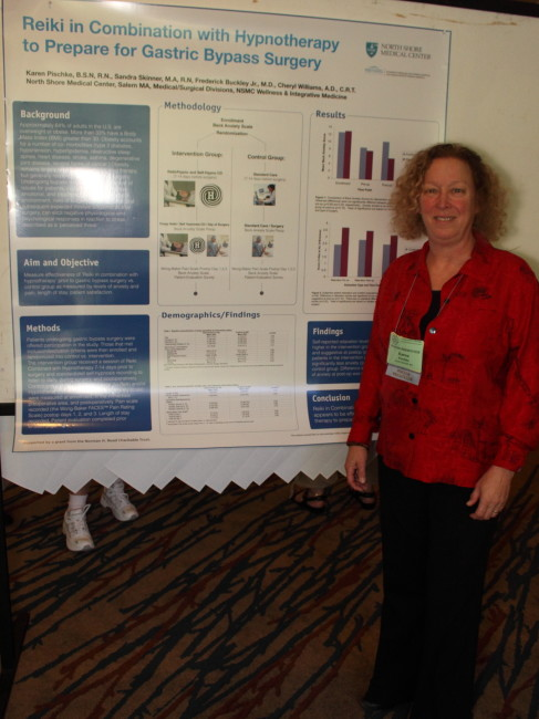 Reiki in Combination with Hypnotherapy Before Gastric Bypass. AHNA poster presentation. 2012
